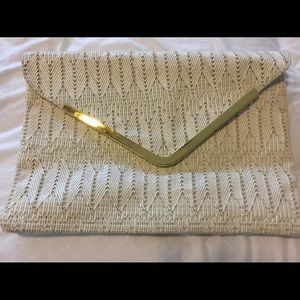 Large cream clutch ASOS